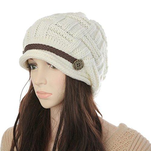 ZhengYue Damen Mädchen häkeln stricken Ski Hut Warm Beanie Wollmütze Wintermütze Strickmütze Weiß (Lustige Kinder-wintermütze)