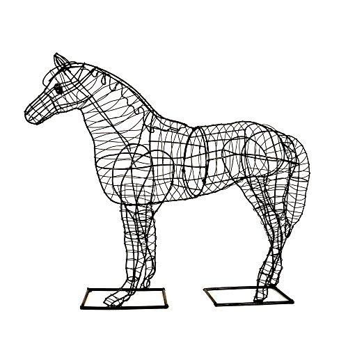 Garten-Figur Pferd Drahtgestell schwarz 60cm hoch