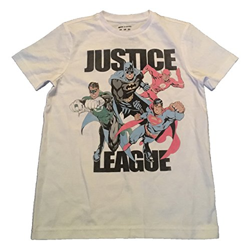 JUSTICE LEAGUE - SUPERMAN, BATMAN, FLASH, GREEN LANTERN - OFFICIAL KIDS T SHIRT
