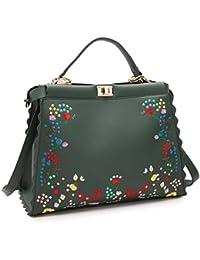 DASEIN Fashion Flower Embroidery Handbag Designer Floral Print Shoulder Bag Tote Purse