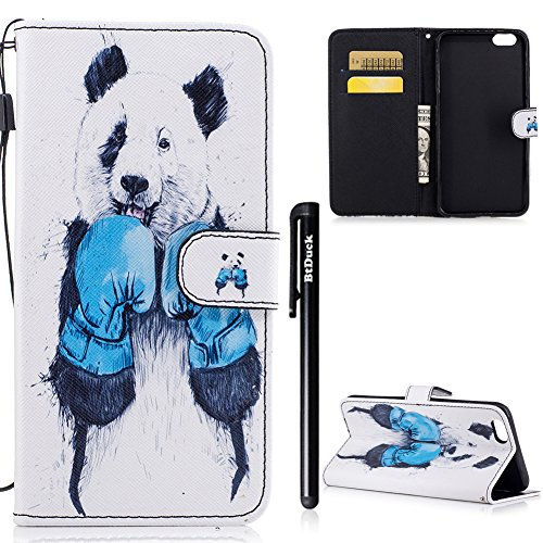 BtDuck Specializzato progettato per Signora Donne Carino Custodia Pelle per iPhone 6 Plus/6S Plus 5.5,BtDuck Ultra Sottile Creativo PU Pelle Borsa e Portafoglio Tasca Libro Stand Case Cover Morbido Si 6 Plus/6S Plus 5.5-Panda