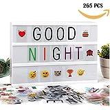 Boîte à lumière A4, boîte à lettres légère à LED avec 90pcs Black Letters, Lettres couleur 90pcs et 85pcs Lovely Emojis, inclus câble USB.