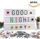 A4 Kino Lichtbox Leuchtkasten, Led Letter Board mit 265 schwarzen und bunten Buchstaben und niedlichen Emojis, Power USB Kabel enthalten
