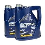 MANNOL 8 (2x4) Liter Outboard Marine 2-Takt Mischöl Außenborder mit Ölwechselanhänger