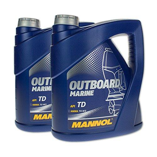 MANNOL 8 (2x4) Liter Outboard Marine 2-Takt Mischöl Außenborder mit Ölwechselanhänger -