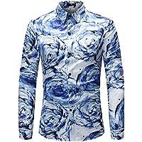 WULIFANG Camisas De Hombres Flor Grande Suave Imprimir Manga Larga Camiseta Slim Casual De Negocios De Casual De Hombres Camiseta Hawaiana Azul L