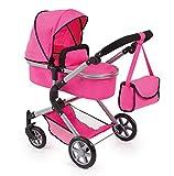 Bayer Design 18129AA carrito para muñecas NEO STAR con bolso cambiador y cesta de la compra debajo Convertable para carrito de bebé, color rosa