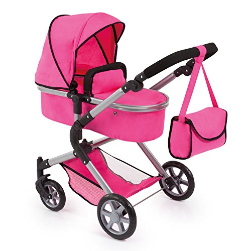 Bayer Design 18129AA City Neo Puppenwagen mit Wickeltasche und Einkaufskorb / umwandelbar in einen Sportwagen / höhenverstellbar / Design: pink, einfarbig