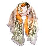 LD Foulard Femme 100% Soie de Mûrier Écharpe Elégante Mode Hypoallergénique 175 * 65cm (Orange)