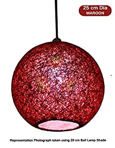 Salebrations 25 cm Dia Maroon Hanging Ball Lamp Shade With Yarn And Led Bulb