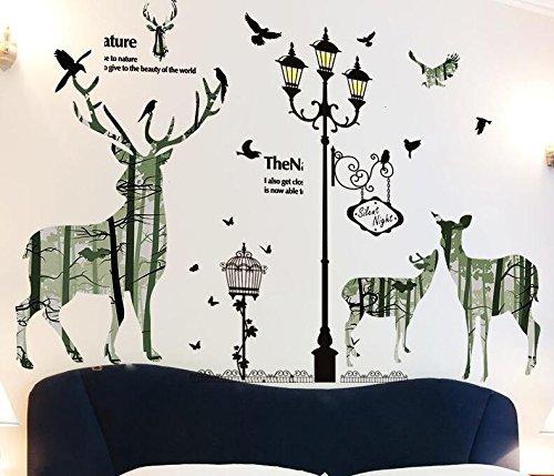 Preisvergleich Produktbild YUELA Das Wohnzimmer Schlafzimmer warm Aufkleber kreative Wanddekoration Wallpaper Wallpaper Wand Papier Aufkleber selbstklebende Sticks,  08 Ghost Story elk Lampe,  groß