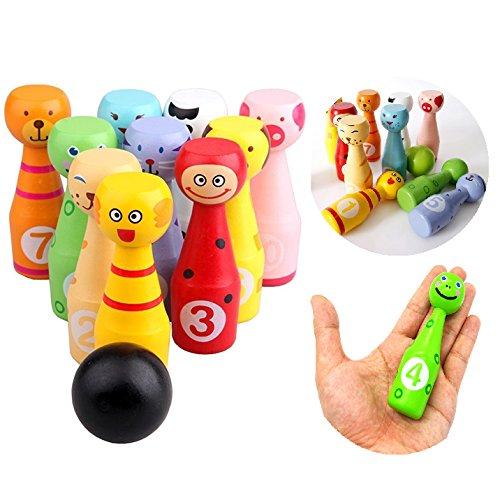 Itian Kinder aus Holz Bowling, Bunte Karikatur Bowling Spielzeug (10 Flaschen + 3 Bälle)