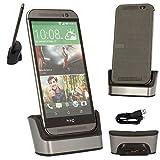 TECHGEAR® HTC One M9Ladestation/Datentransfer/Synchronisation/Ständer in Silber, mit OTG Funktion eingebaute + USB Datenübertragung/Charge Kabel [HTC One M9, 2015Edition]