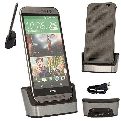 Produktbild ® HTC One M9 Techgear Desktop-Ladeschale / Dockingstation zum Aufladen und Synchronisieren & Silber,  mit OTG Funktion,  integrierter USB-Datenkabel / Ladekabel (für HTC One,  M9,  2015 Edition]