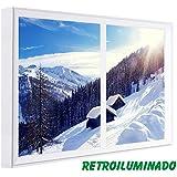 CCRETROILUMINADOS. Cuadros Ventanas Falsas Retroiluminadas. Amanecer Nevado (100_x_80_cm, Blanco)