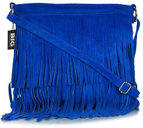 BHBS Bolso de Noche para Dama en Cuero Gamuzado con Flecos en el Frente 32x26 cm (LxA) Azul Eléctrico (NL399)