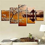 LZLZ 5 aufeinanderfolgende Gemälde Poster DekorationWandkunst Modulare Leinwandbilder 5 Stück Birnenblume und Kleiner Pavillon Retro Landschaftsmalerei HD Drucke