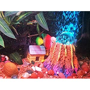 Aquarium Decorative LED Volcano Submersible Light with AIR Stone (Color May Vary)
