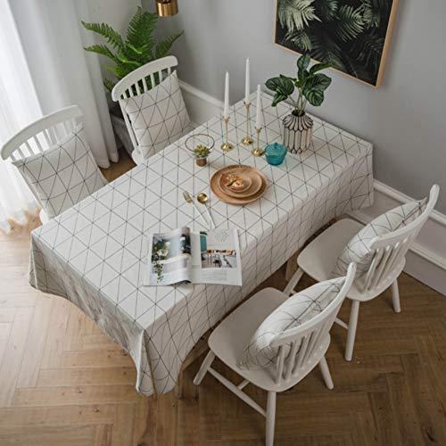 Zmylove tovaglia minimalista moderna, tovaglia rettangolare tovaglia geometria interna tovaglia in lino cotone stampa tovaglia per copritavolo per la decorazione domestica,white,width140*long140cm