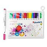 Lightwish fabricante de pintura permanente marcador de pluma de tela-colores surtidos, paquete de 20, niño seguro y no tóxico