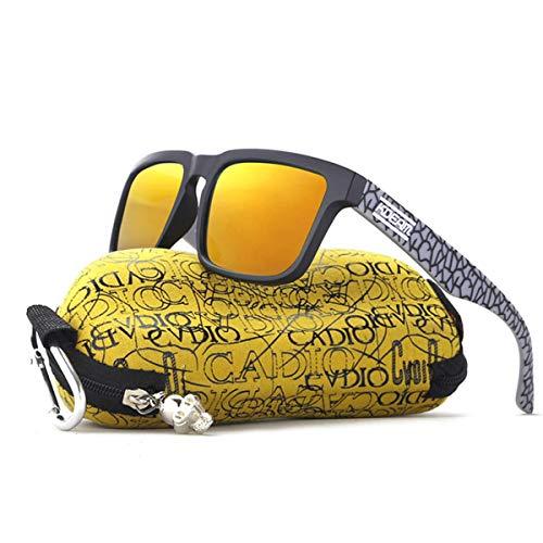 DYFDHA Sonnenbrille Polarized Sunglasses Men Reflective Coating Square Sun Glasses Women Brand Designer UV400 With Original Case KD901P-C8 Einheitsgröße