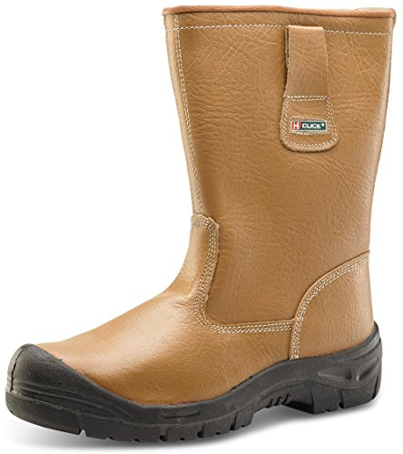 Click Rigger Boot Fur Lined Leather Safety Steel Toe Cap - Size 10