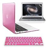 kwmobile 3in1 Set: Crystal Case für  Apple MacBook Air 13 (Modelle ab Mitte 2011)  in Pink + Displayschutzfolie + Tastaturschutz