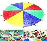 Sipobuy Play Tents Kids Juego Jugar Parachute 12 'con 16 asas Indoor Outdoor 210T