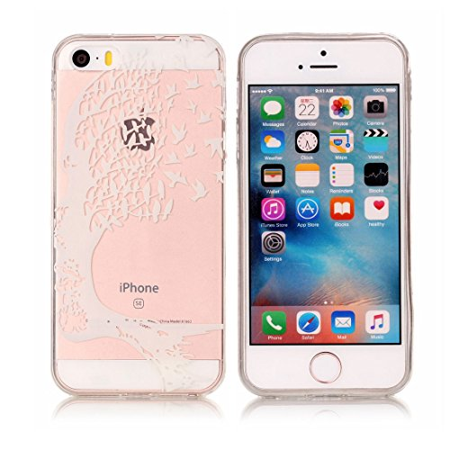 iPhone 5S Custodia, [Materiale flessibile TPU Gel trasparente del silicone Grip sottile e leggero ] Copertura iPhone 5 SE 5G Case, Shock Proof [ Cartoon Totem bianca ] # # 12