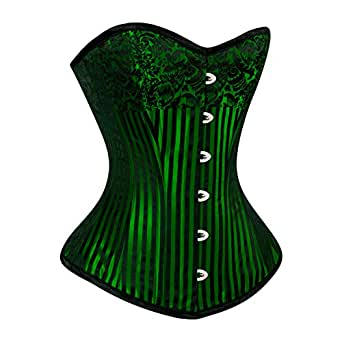 Green Black Full Steel Boned Overbust Corset Bustier Burlesque Basque Striped Plus Size Outfit