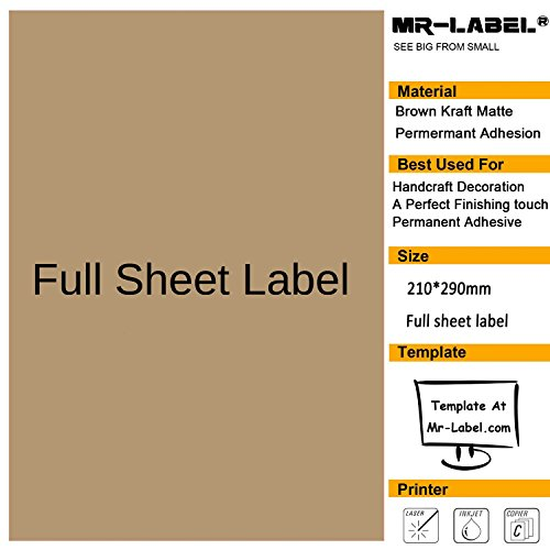 Mr-label® fogli vuoti in cartoncino Kraft, completo di etichette regalo-Self Adesivi per decorazione manuale, craft/TOCCO, 25 fogli