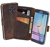 Book-Style Ledertasche Tasche für Samsung Galaxy S6 Edge *ECHT LEDER* Handytasche Case Etui Hülle (Original Suncase) in antik - braun (sand)