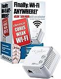 Devolo dLAN 500 Wi-Fi Add-On Powerline Adapter, Wi-Fi signal Booster (500 Mbps, 1 LAN Port, Wi-Fi Extender, PLC, Wi-Fi Repeater, Small, Wi-Fi Adapter, Wi-Fi Move, Power Save) - White