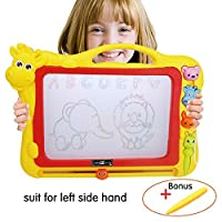 XL Size Magnetic Drawing Board + extra 1 pen ,Erasable Colorful Magna Doodle Drawing Board Toys for Kids Writing Sketching Pad with 3 Shape Stamps ,Preschool Learning and Educational Toy By Stwie