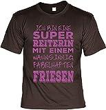 Pferd Reiter T-Shirt - Super Reiterin mit Einem Fabelhaften Friesen - Präsent für Pferdefreunde