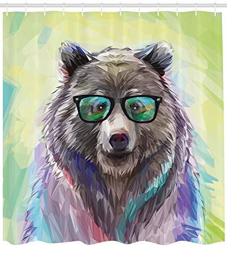 Ambesonne Tier-Duschvorhang, lustig, cool, tief, Wilder Hipster-Bär mit Brillen, farbenfrohes Portrait, Stoffstoff, Badezimmer-Dekorationsset mit Haken, 198 cm lang, Limettengrün, Blau, Grau, Violett
