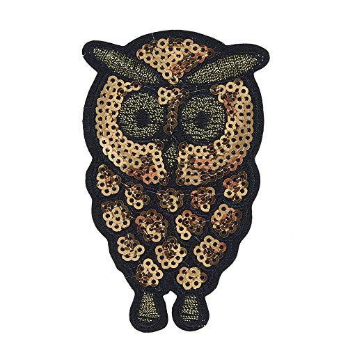 YA-Uzeun Aufnäher mit Tier-Stickerei, zum Aufnähen und Aufnähen, für Kleidung, Taschen, Kleid, Pailletten Golden little owl 5.5 * 8.5cm (Akne Kleidung)