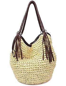 GSPStyle Damen Stroh Schultertasche Strandtaschen mit Reißverschluss