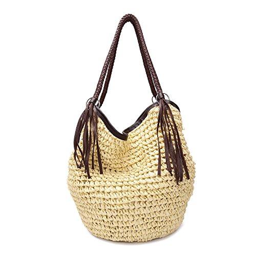 GSPStyle Mujer Bolsa de hombro Paja Playa Bolsas Cremallera - Beige