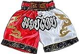 Nakarad Pantaloncini da Boxe thailandesi per i Bambini (2-10anni) (Rosso/Bianco, S (7-8anni))