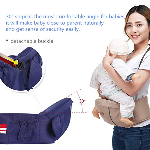 Ergonomic Hipseat Baby Carrier with Shoulder Strap, Waist Stool Seat for Carrying Baby Toddlers, Light Weight and Labor Saving-Blue  GBX