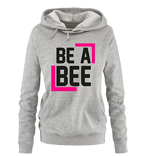 comedy-shirts-be-a-bee-damen-hoodie-grau-schwarz-pink-gr-m