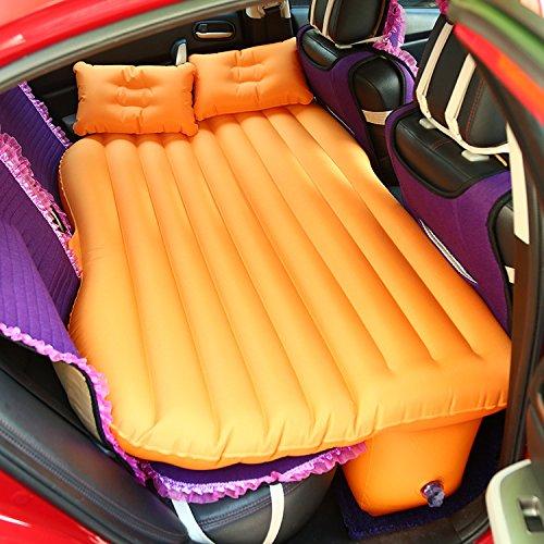 Beflockte Auto Reise Air Matratze, Air Kissen, Kissen, Wild Camping Allgemeine, Super Groß, hengwen Design, Kind Schutz Bar, zwei aufblasbare Kissen (138* 88cm * 45cm) blau, weiß, grau, grün, orange., Orange