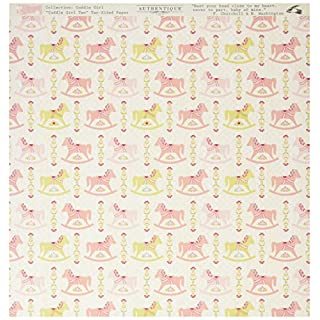 Authentique Paper Cuddle Girl Double-Sided Cardstock x 12-inch-#2 Multi Rocking Mini Horse Pink 18 Sheets per Pack, Other, Multicoloured, 0.02x30.48x31.75 cm