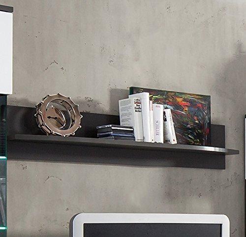 Wohnzimmer Wandregal graphit Bücherregal CD DVD Regal Wohnwand Regal Wandboard