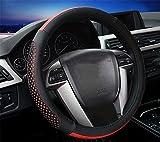 YAYUE Universal Mikrofaser Leder Lenkradbezug Lenkradhülle Leder Lenkradschoner Anti Rutsch Lenkradabdeckung Auto , red