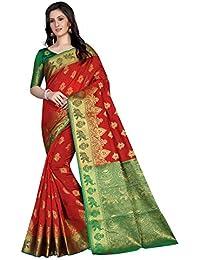 G Stuff Fashion Women Cotton saree with Blouse Piece_FD_Red_Matka_saree