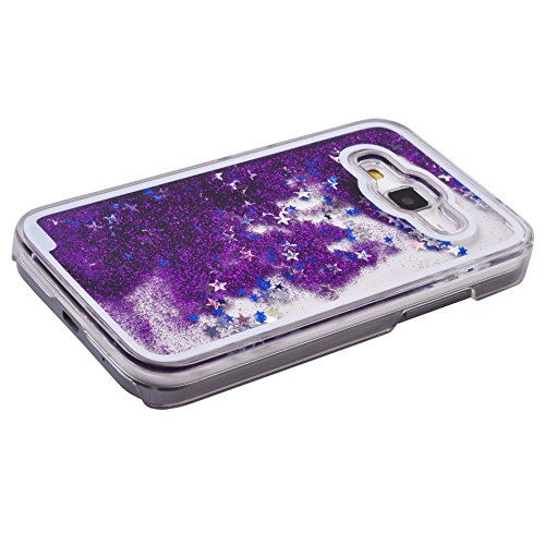 Voguecase® Pour Apple iPhone 4 4G 4S, Luxe Flowing Bling Glitter Sparkles Quicksand et les étoiles Hard Case étui Housse Etui(Bleu) de Gratuit stylet l'écran aléatoire universelle Pourpre+coloré la vedette