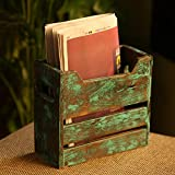 ExclusiveLane 'Rustic Crate' Antique Finish Table Top Magazine Holder in Mango Wood - Magazine Rack Stand for Living Room Office Table Desk Newspaper Stand Racks for School Home