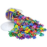 HUGE TUB OF FOAM LETTERS & NUMBERS - A massive tub of multi coloured upper case letters approx 4cm x 2mm thick in a handy container